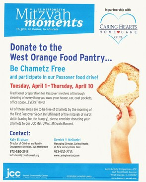 JCC Metrowest and Caring Hearts of NJ Home Care to Hold Passover Food Drive, photo 1