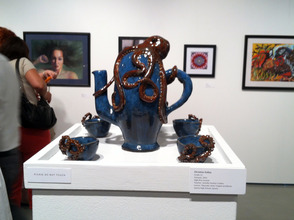 Christine Galley's ceramic teapot being attacked by an octopus