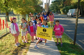 "One of the ""walking school buses"" on its way to Salt Brook, helping to make the school's Walk to School Day a great success"