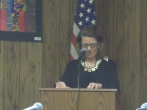 Maureen Mazzarese speaking to the board.