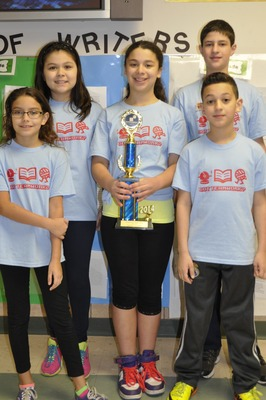 5th grade Students l to r: Emma Russo, Malika Yuldasheva, Hannah Rubinstein, Jacob Daniel & Omar Aly