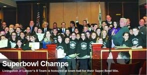 Livingston Jr Lancer's B Team was Honored at Town Hall for 2013 Super Bowl Win