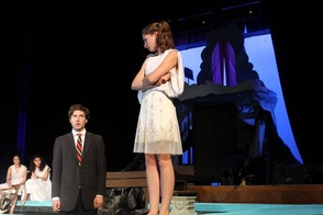 Cast member Jesse Zimmermann scowls at Nick Gabuzda, while Isabella Gelfand and Madi Rosenthal observe