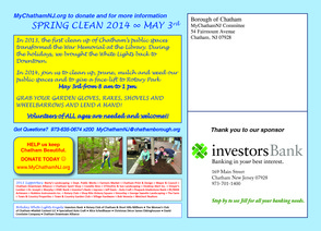 Spring Clean Saturday May 3rd  8 AM- 1 PM