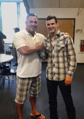 Gary Salvano, a fellow Marine from Montville, with Nick Mayse