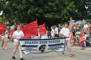 Sparta High School's marching band moves swiftly to the beat of the music.