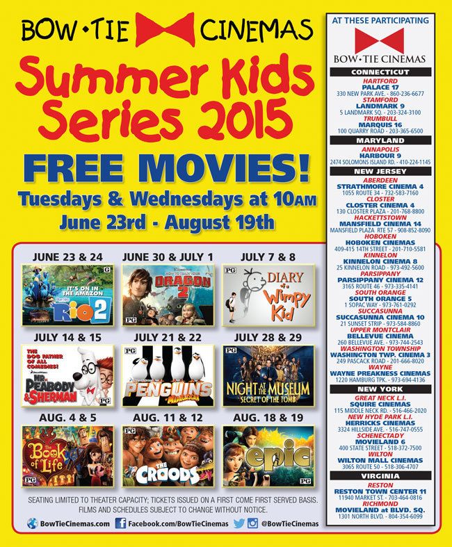 bow tie cinemas showing free summer in south orange