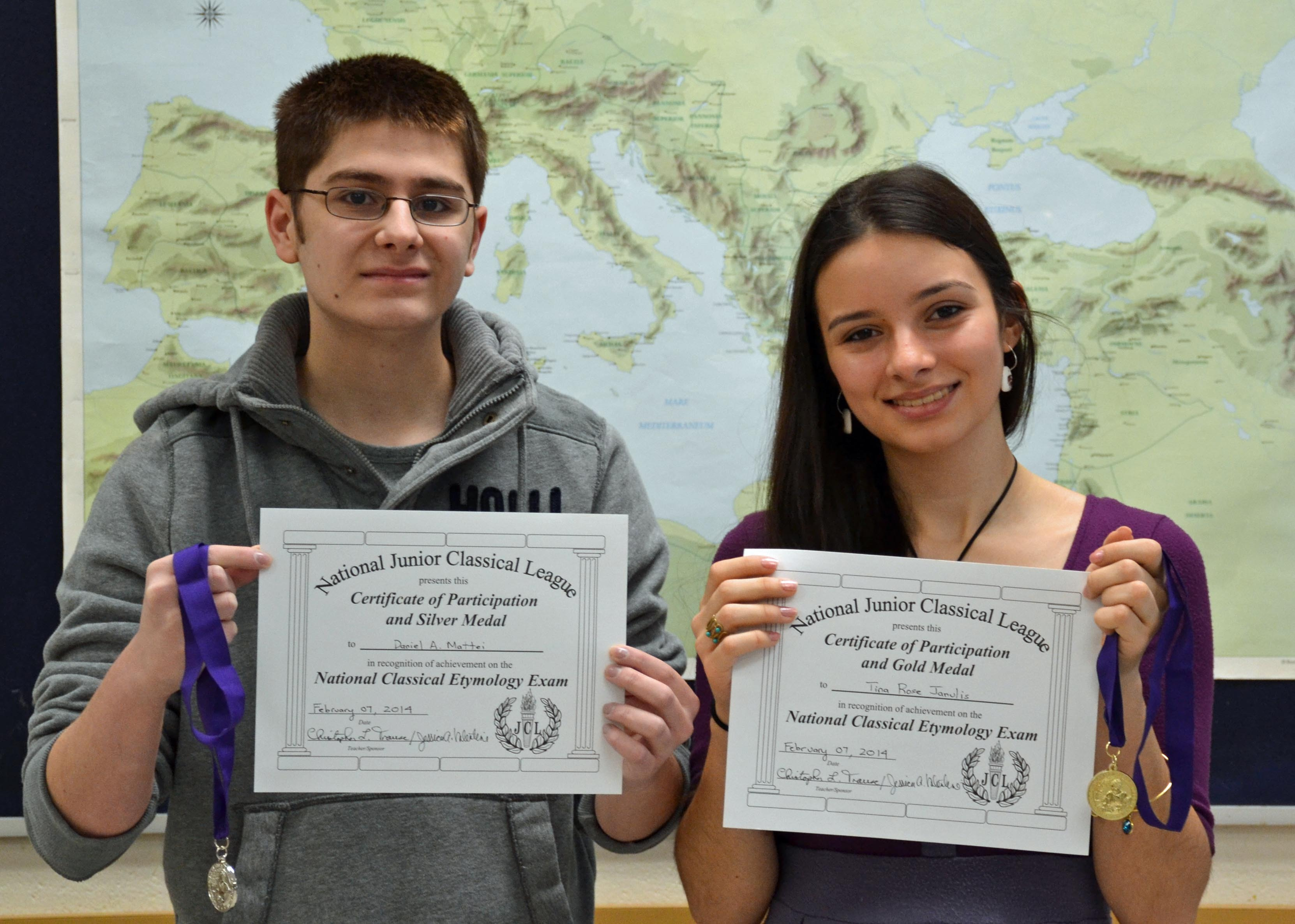 james caldwell high school students take home the gold the silver juniors from james caldwell high school daniel mattei left and tina janulis display their certificates and medals earned when the pair took the national