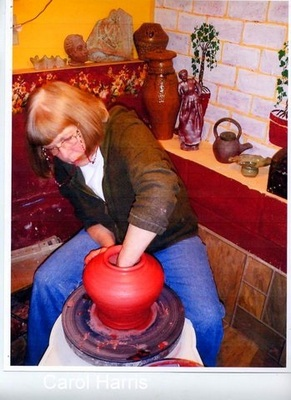 Carol Harris making pottery