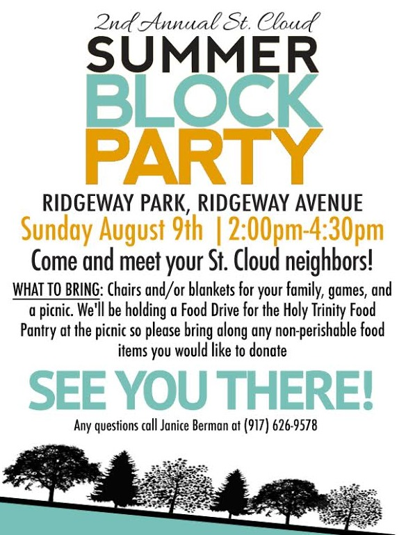 st cloud summer block party held with a food drive for holy trinity food pantry west orange. Black Bedroom Furniture Sets. Home Design Ideas