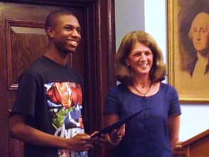 Lorenzo Giles and Council President Sue McCartney