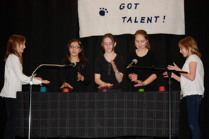 5th graders, Bella Ries, Dibya Achaeya, Edwina Henry, Sophie Garcia and Ellie Ries performing The Cup Song by Pitch Perfect
