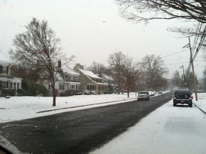 A local snow-covered road