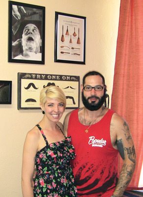 "Mitchell Cohen, ""The Bearded Barber,"" and his fiancee Kristen Petersen"