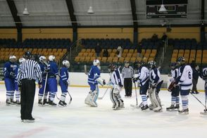 After the game, the two teams shake hands