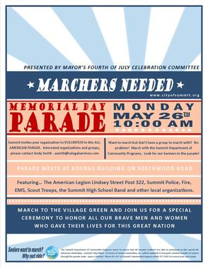 Memorial Day Marchers Needed, photo 1