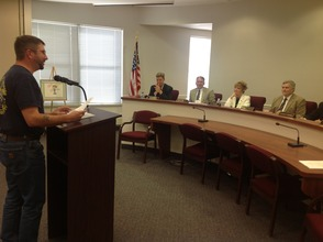 David Fanale addresses the members of the freeholder board.