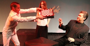 Actors Brian C. Jone, Ronit Horowitz, and Heath Weisbery in CHESS