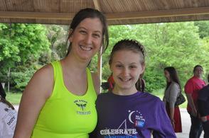 Casey Heinke, with daughter, Bradley, a cancer survivor.