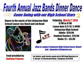 The Livingston High School Band Boosters' Fourth Annual Jazz Dinner Dance is Coming Up in March