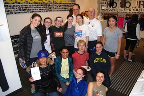 L-R, Back row: Roger Askins (Club Advisor and MHS Transition Coordinator teacher), William Miron (Millburn High School Principal), Next to back row: MHS seniors Lucy Blevins, Sarah Leventhal, Sarah Feigelman, Carrie Wolf (Club Vice President), Julia Truitt (Club President and Founder) and Elyse Kuo. Second row: Cyclist and Short Hills resident Ellen Serruto, MHS senior Gauri Chopra, MHS freshman Vytas Belzer and MHS senior Sarah Lipman. Front row, MHS seniors Kelly Cavender and Michelle Belgrod