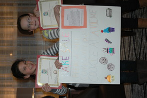 Valerie Hoodis, left, and Katie Lawler with their winning Bake-Sale plans.