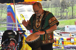Richard Reiter leads the African Drum Circle.