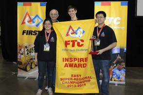 Landroids as the 2014 East Super Regional 1st Place Inspire Award Winner and the Championship Winning Alliance Captain