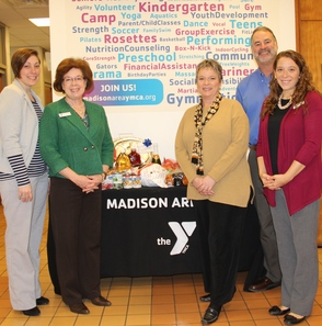 Madison Area YMCA and Wells Fargo Insurance Services Donate Thanksgiving Basket