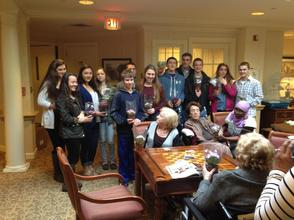 Junior Optimist Club with residents of Sunrise in Westfield