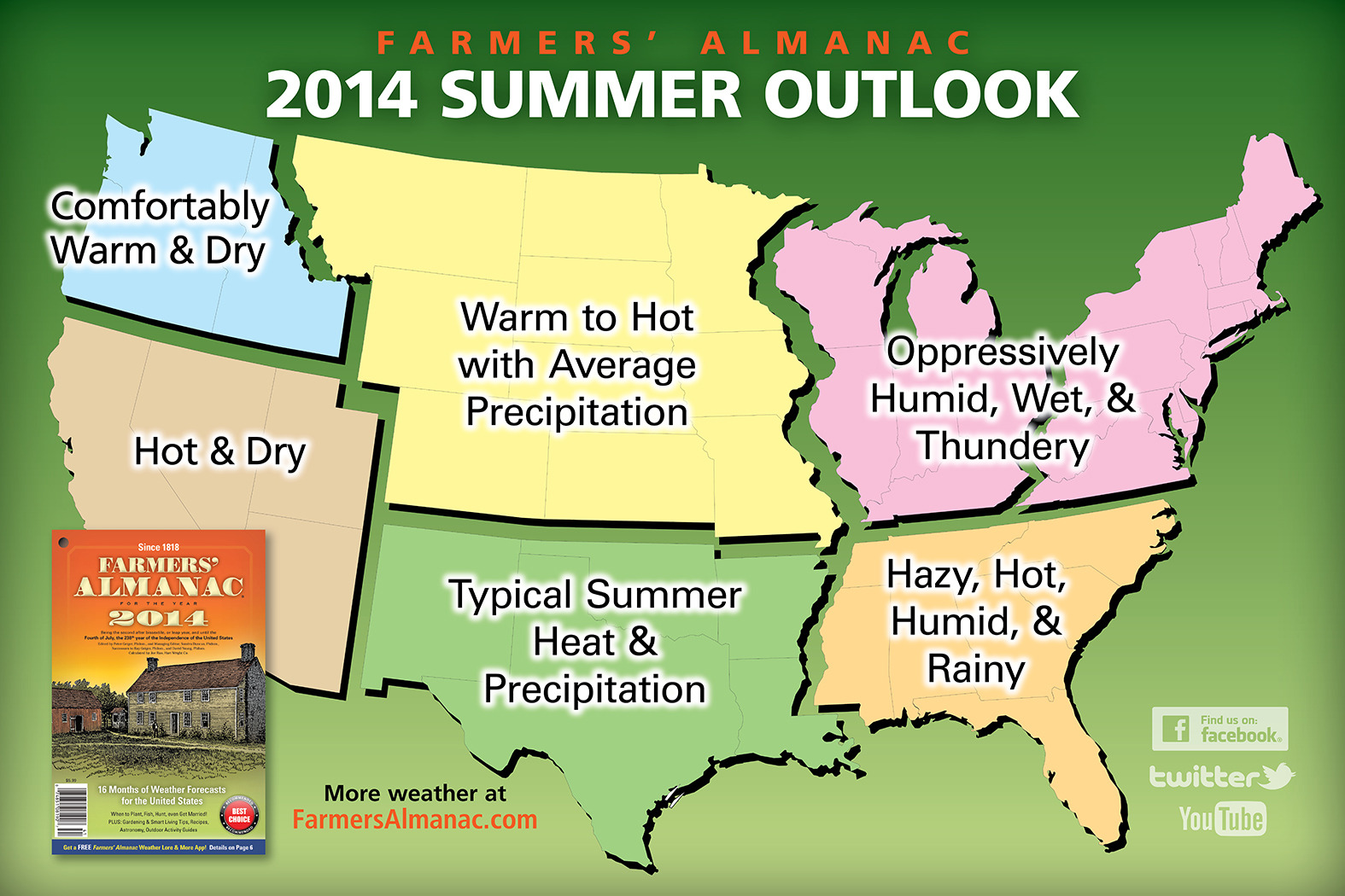 Farmer's Almanac Summer Map for 2014