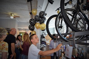 Attendees looking at bikes at Pedal Montclair