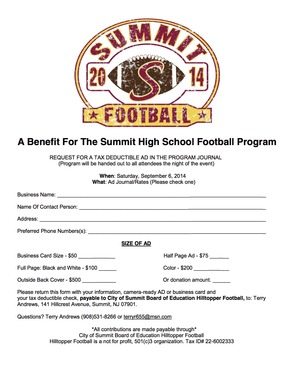 Summit Football Ad Journal