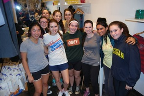 L-R: Enjoying after cycling pizza and camaraderie are MHS seniors: Back row Kelly Cavender, Lucy Blevins and Michelle Belgrod. Middle row: Sarah Leventhal. Front row: Elyse Kuo, Julia Truitt (Club President and Founder), Sarah Feigelman, Carrie Wolf (Club Vice President), Gauri Chopra and Sarah Lipmann