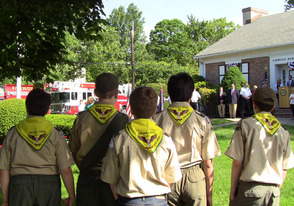 Boy Scout Troop 33 looks upon Memorial Day observance at the Fanwood Library