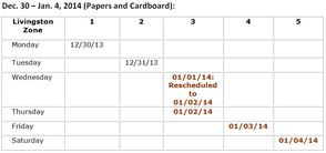 Dec. 30 – Jan. 4, 2014 (Papers and Cardboard)