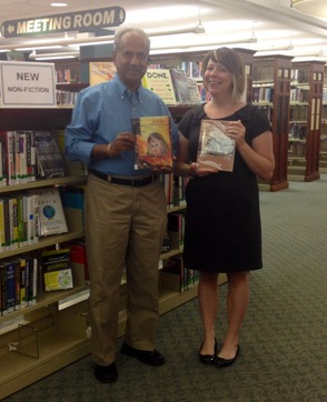 Local Author Serge Deshmukh and Library Director Samantha McCoy