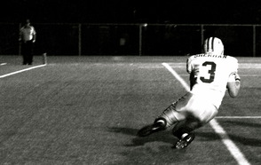 Bryan Sherman (senior, #3), catching a pass in the end zone