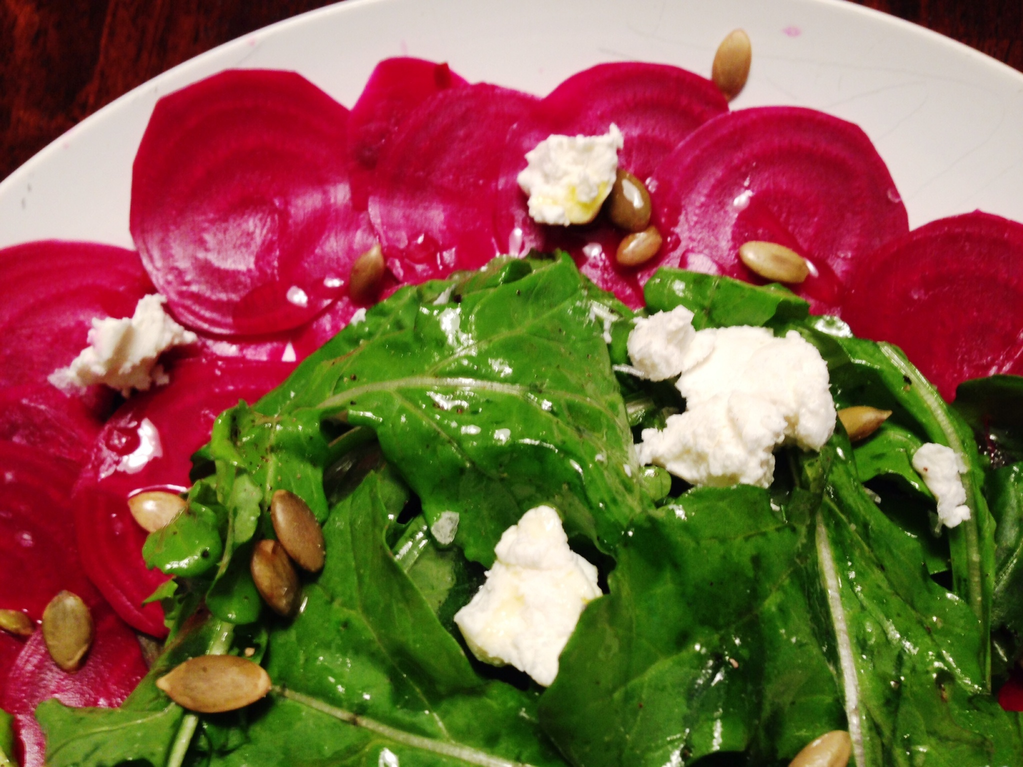 Lightly Pickled Beet Carpaccio with Arugula, Goat Cheese, and Roasted ...