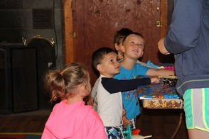 Looking at the Show and Tell in the Pre-School cabin