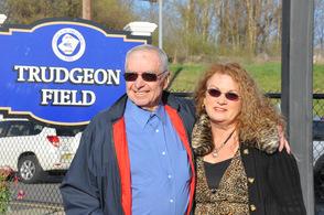 Thomas Trudgeon, Sr., with Newton Mayor Sandra Diglio.