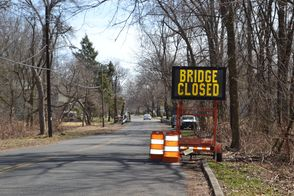 Bridge Closed Sign Erected