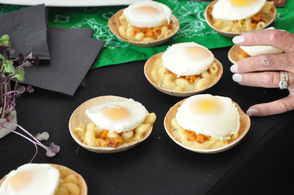 Irish Mac & Cheese topped with a poached egg.