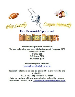Golden Bears Chargers Pop Warner Offering Early Bird Registration, photo 1
