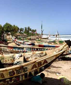 Colorful Boats in Ghana Village