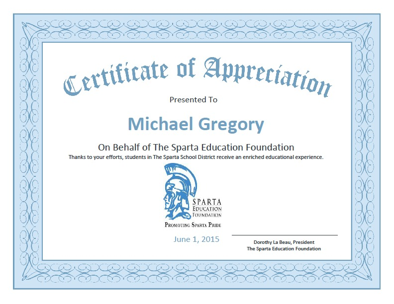 Sparta education foundation shows appreciation news tapinto ab99cc46497ddbbb2b15certificateg yelopaper Image collections