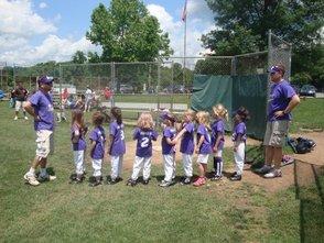 Packy coaching little girls