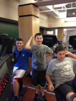 From left: Jesse Francione, West Essex YMCA strength trainer with Ben Jarmel & Myles Little.