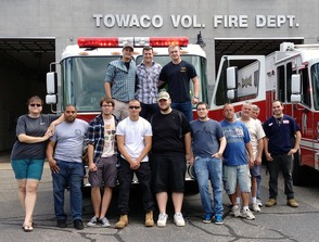 Towaco Fire Department volunteers greet Nick Mayse