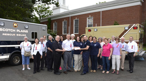 Fanwood Presbyterian Church presents checks to Fanwood and Scotch Plains Rescue Squads